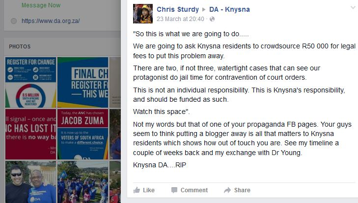 LKP25f 2016.03.23a Knysna DA FB - complaint ignored deleted