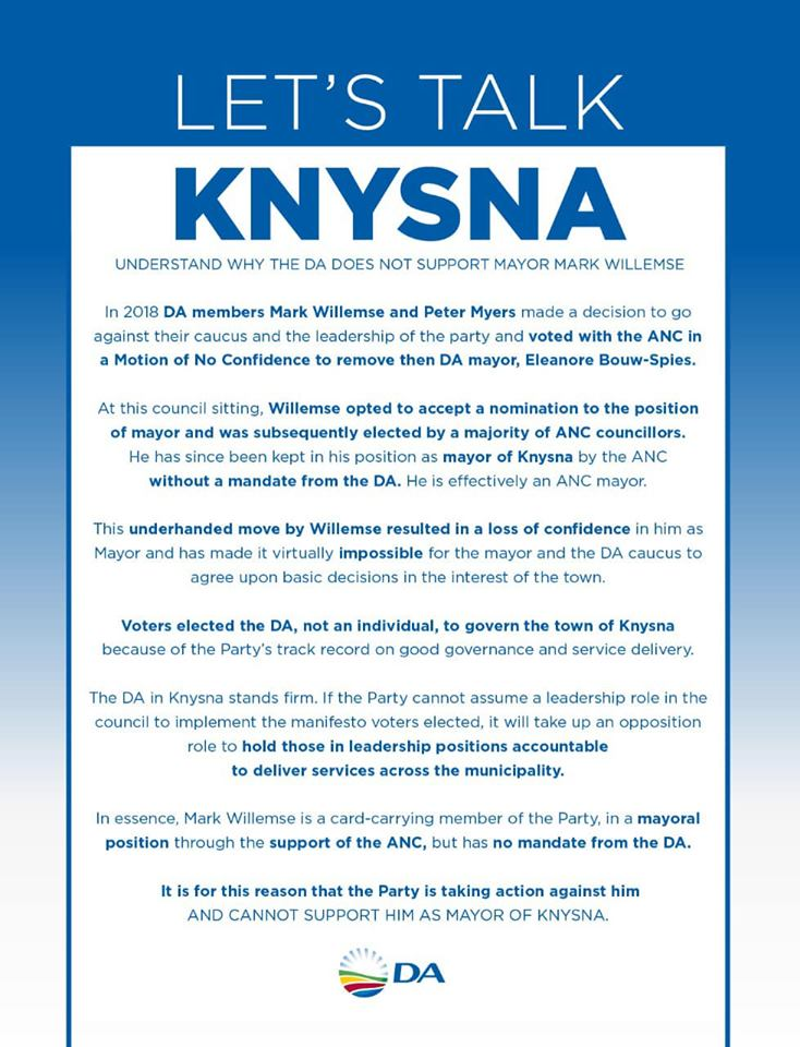 Democratic Alliance leadership attacking own councillors standing against corruption