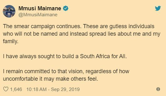 2019.09.29 Mmusi Maimane responds to attack to discredit him